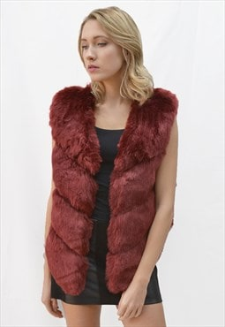 Soft Faux fur and leather oversized short gilet in burgundy