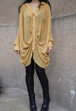 Oversized Top Shirt Extravagant Convertible Blouse F1569