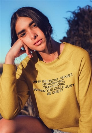 SWEATER IN GOLD WITH EQUALITY SLOGAN