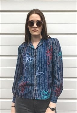 Womens Vintage 80s blouse blue patterned floral shirt top