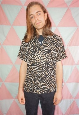 Vintage 90s Short Sleeve Animal Print Shirt