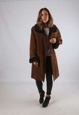 Vintage Sheepskin Suede Shearling Coat UK 16 - 18 (C9BV)