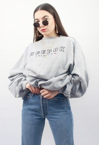 90'S RETRO GREY SPELL-OUT OVERSIZED SWEATSHIRT