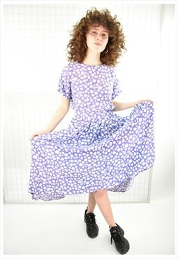 Vintage 80s ombre Floral Print Tea Dress