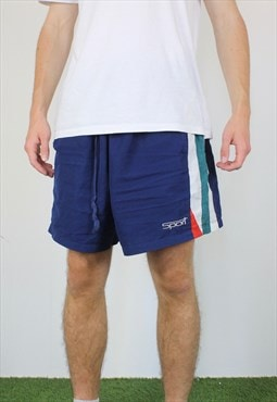 Vintage Sport Shorts in Blue with Logo, Drawstring, Pockets
