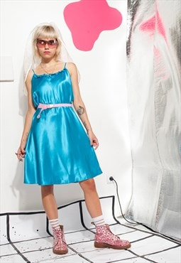 90s vintage slip dress in turquoise satin w frills