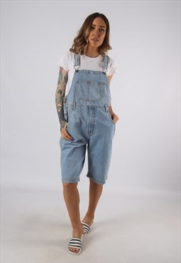 Vintage Denim Dungaree Shorts UK 12 Medium (9E1W)