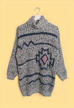 Vintage 80's Turtleneck Wool Knit Jumper Graphic Pattern