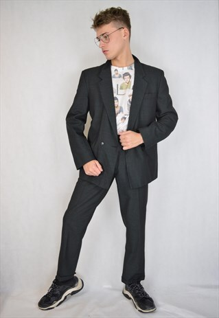 VINTAGE GREY CHECKERED CLASSIC RAVE SUIT