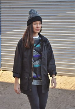 Vintage Retro Black Wax Winter Check Lined Coat Jacket