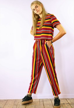 Sweet Striped Crop Peg Pants & Box Top Co-Ordinates