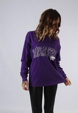 Long Sleeved Top Sweatshirt Oversized PRINT LOGO UK 14 (GI5G