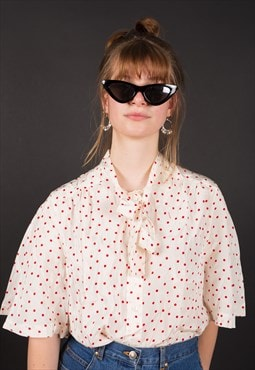 -RARE- 90's red Polka Dot CELINE Blouse