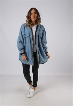 Denim Shirt Oversized Fleece Lined Vintage UK 18 - 20 (DKEI)