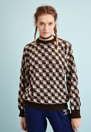 90'S RETRO JAZZY OPTICAL PATTERN SLOUCHY KNIT JUMPER