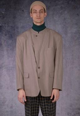 Vintage 90s minimalist, classic, casual, beige  blazer