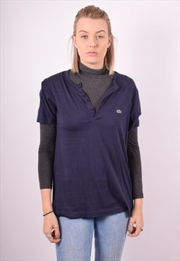 Lacoste Womens Vintage T-Shirt Top XS Navy Blue 90s