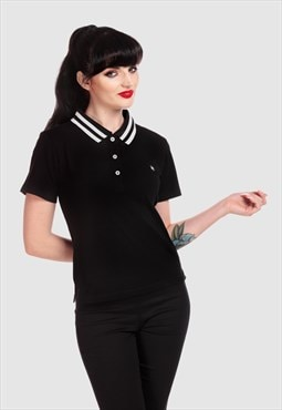 April Vintagee Sport  Polo With Short Sleeve In Black