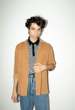 Vintage 90s suede brown shirt