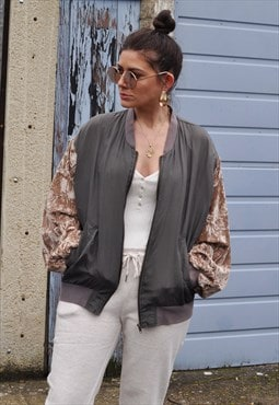 Vintage 80's brown crushed velvet sleeve silk bomber jacket