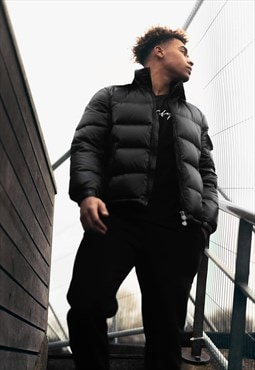 Collared Puffer Bubble Padded Jacket Coat - Black ALL SIZES