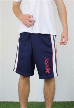 Vintage Iwasho Cotton Basketball Shorts in Blue with Logo
