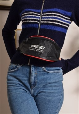 Vintage 80s Bum Bag Fanny Pack in Black with Red Piping