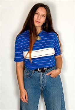 Vintage 90's Stripe Blue & White Tee