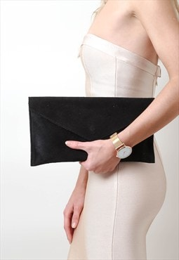 Black Suede Envelope Clutch Bag