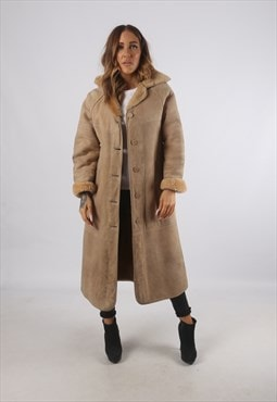 Vintage Sheepskin Suede Shearling Coat Long Hooded (93E)