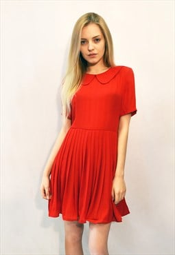 Bright Red Pleated skater short Dress CY
