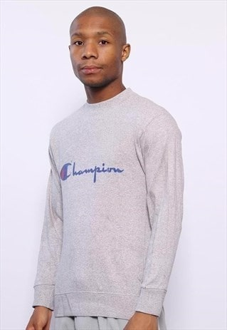 Vintage Champion Big Logo Spellout Long Sleeve T-Shirt Grey