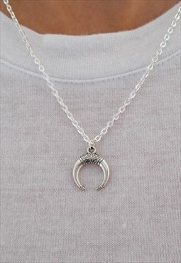 silver crescent moon necklace / double horn necklace