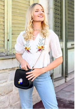 Floral Embroidery Crochet Top
