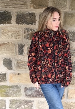 Vintage Flower Print Fleece Jacket 90s Y2K