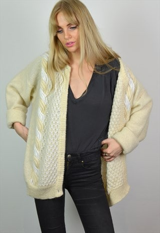 VINTAGE WHITE & CREAM WOOL KNITTED CARDIGAN