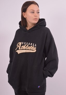 Russell Athletic Womens Vintage Hoodie Jumper XL Black 90s