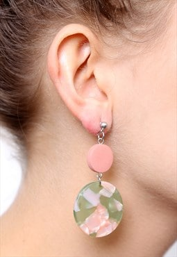Pink Green Tortoiseshell Resin Acrylic Plastic Earrings