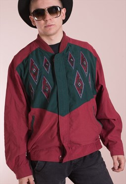 Vintage 90s maroon men's casual bomber Jacket