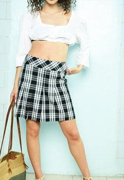 Vintage Y2K 00s tartan checked festival mini skirt kilt