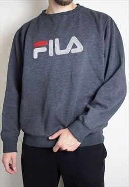 Vintage Fila Grey Jumper Mens Large Chest Spellout