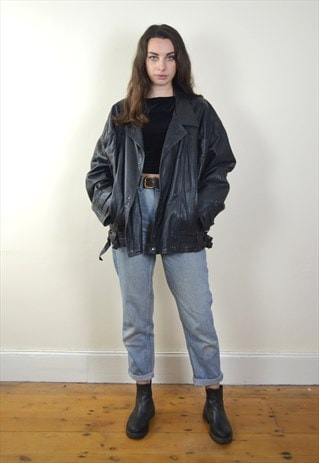 80S VINTAGE BLACK LEATHER BIKER JACKET