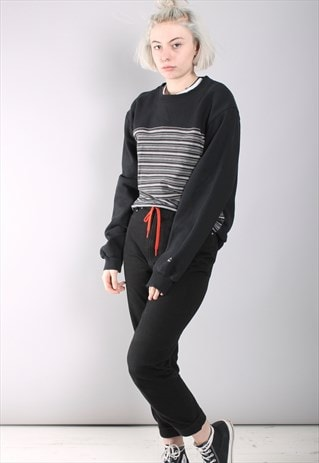 VINTAGE BLACK STRIPED SWEATSHIRT