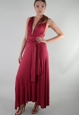 Burgundy multi way maxi dress bridesmaids gown