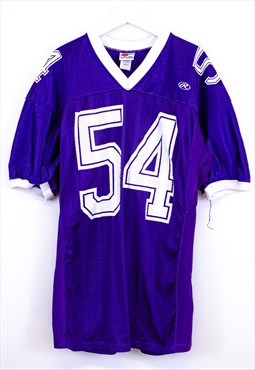 Vintage Football Jersey Purple with Stripes and 54 Spell Out