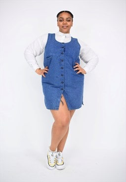 Vintage 90's Denim Pinafore Dress With Buttons & Pocket