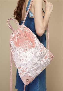 Velvet Drawstring Backpack with Faux Pearls