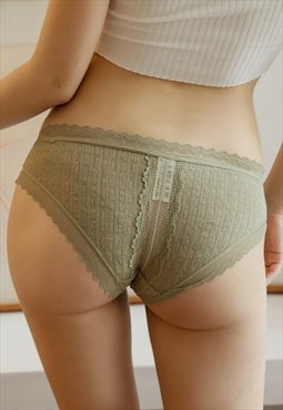 Low Rise Lace Panties in Matcha Green