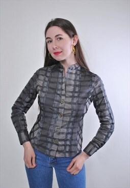 Women vintage grey long sleeve plaid pattern blouse