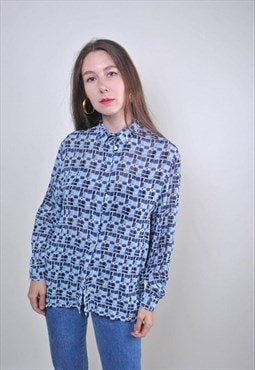 80s abstract print blue long sleeve blouse